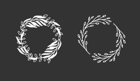 Hand drawn wreath for design use. White Vector doodle flowers on black background. Abstract pencil boho drawing branch circle. Artistic illustration elements plant and bloom
