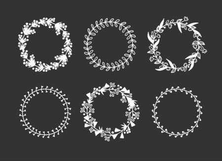 Hand drawn wreath for design use. White Vector doodle flowers on black background. Abstract pencil boho drawing branch circle. Artistic illustration elements plant and bloom Stock fotó - 138441603