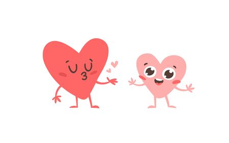 Cartoon drawing set of hearts emoji. Hand drawn emotional characters.Actual Valentines Day Vector illustration. Romantic creative ink art work  イラスト・ベクター素材