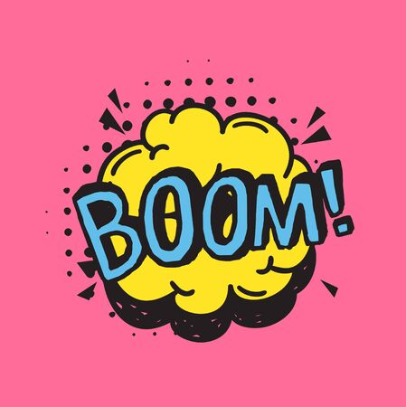 Hand drawn speech bubble with text on pink background and halftone. Vector pop art object and word BOOM. Doodle element for dialog or comic Illustration