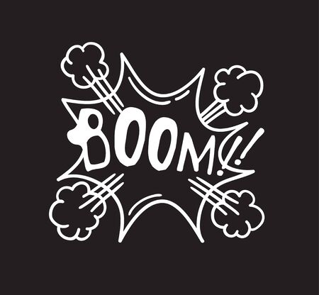 Hand drawn speech bubble with text on black chalk board  background. Vector pop art object and word BOOM. Doodle element for dialog or comic