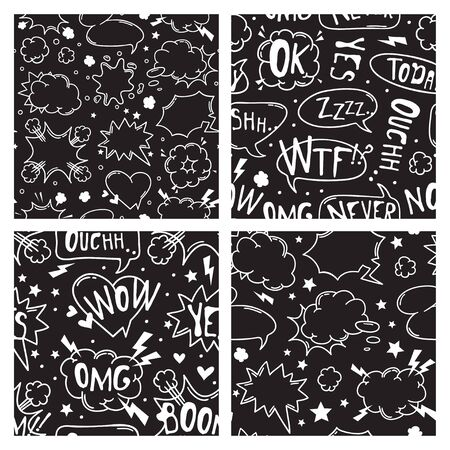 Hand drawn seamless pattern with speech bubbles for text. Vector pop art background and words. Doodle element for dialog or comic