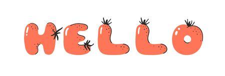 Cartoon vector illustration tomatos  ABC. Hand drawn font with vegan food and word HELLO. Actual Creative art vegetarian alphabet