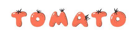 Cartoon vector illustration tomatos ABC. Hand drawn font with vegan food and word TOMATO. Actual Creative art vegetarian alphabet