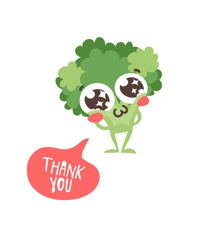 Cartoon drawing veggie emoji. Hand drawn emotional meal.Actual Vector illustration abroccoli. Creative ink art work food and word THANK YOU