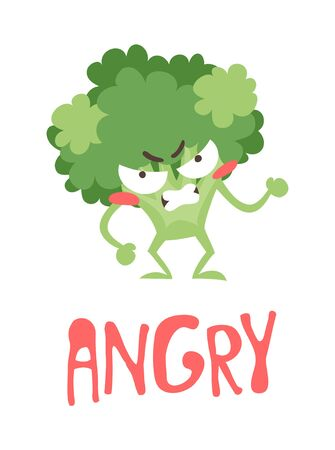 Cartoon drawing veggie emoji. Hand drawn emotional meal.Actual Vector illustration abroccoli. Creative ink art work food and word ANGRY