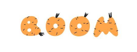 Hand drawn Carrot ABC and word BOOM. Cartoon vector illustration veggies font.  Flat drawing vegetarian food. Actual Creative Vegan art work Illusztráció