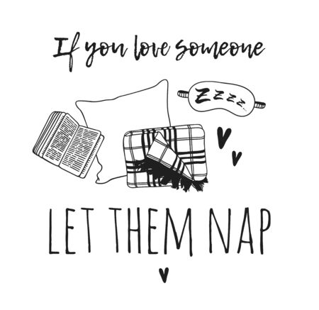 Hand drawn objects about Sleep Routines and text.Vector Cozy Illustration Sleeping Mask. Creative artwork. Set of doodle and quote Vettoriali