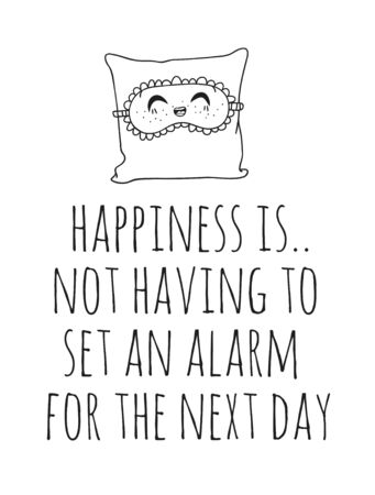 Hand drawn objects about Sleep Routines and text.Vector Cozy Illustration Sleeping Mask. Creative artwork. Set of doodle and quote Stock Illustratie