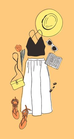 Hand drawn Fashion Illustration Summer Outfit. Season Look on Orange Vector Background. Artistic Doddle Drawing Actual Wear. Creative Ink Art Work