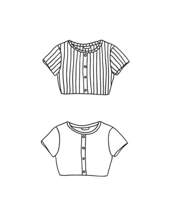 Hand Drawn Fashion Illustration Season Wear. Creative ink art work Summer Outfit Element. Actual vector drawing crop top. Black contour object on white background isolated Illusztráció