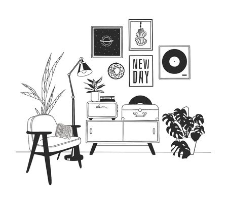 Hand drawn interior objecton white background.Vector Cozy Line Illustration. Creative art work. Doodle drawing room