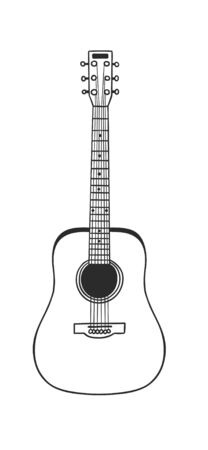 Hand drawn interior objecton white background.Vector Cozy Line Illustration. Creative art work. Doodle drawing acoustics guitar