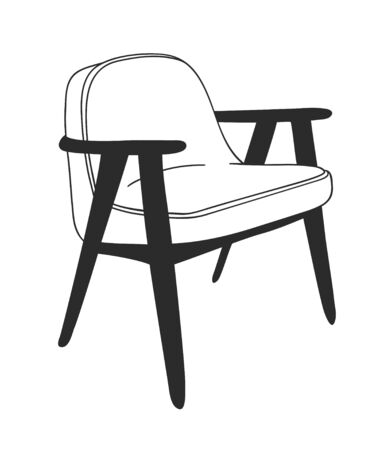 Hand drawn interior objecton white background.Vector Cozy Line Illustration. Creative art work. Doodle drawing chair