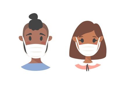 Set of African American male and female characters. Cartoon style masked people icons. Isolated guys avatars. Flat illustration protected men and women faces. Hand drawn vector drawing safe girls and boys portraits Illusztráció