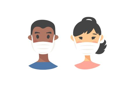 Set of male and female characters. Cartoon style masked people icons. Isolated guys avatars. Flat illustration protected men and women faces. Hand drawn vector drawing safe girls and boys portraits