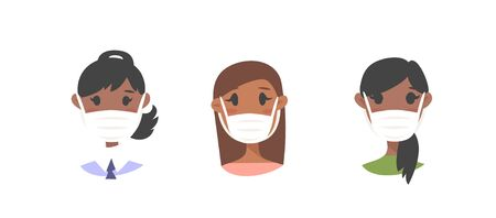 Set of  African American female characters. Cartoon style masked people icons. Isolated guys avatars. Flat illustration protected women faces. Hand drawn vector drawing safe girls portraits