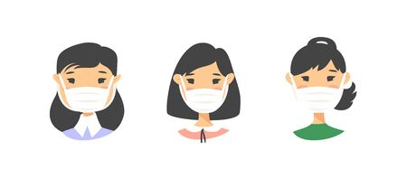 Set of Asian American female characters. Cartoon style masked people icons. Isolated guys avatars. Flat illustration protected women faces. Hand drawn vector drawing safe girls portraits Illusztráció