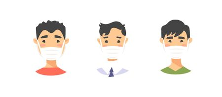 Set of Asian American male characters. Cartoon style masked people icons. Isolated guys avatars. Flat illustration protected men faces. Hand drawn vector drawing safe boys portraits Illusztráció