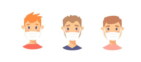 Set of Caucasian male characters. Cartoon style masked people icons. Isolated guys avatars. Flat illustration protected men faces. Hand drawn vector drawing safe boys portraits Illusztráció