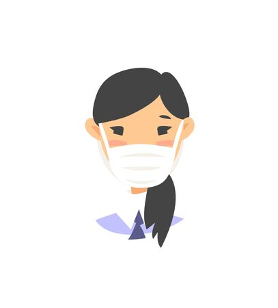 Set of Asian female characters. Cartoon style masked people icons. Isolated guys avatars. Flat illustration protected women faces. Hand drawn vector drawing safe girls portraits
