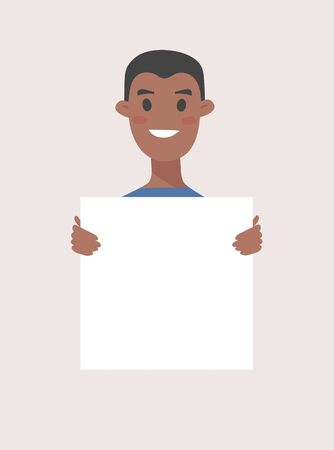 African American male and female characters with board. Cartoon style people icons. Isolated guys avatars. Flat illustration men and women faces. Hand drawn vector drawing girls and boys portraits