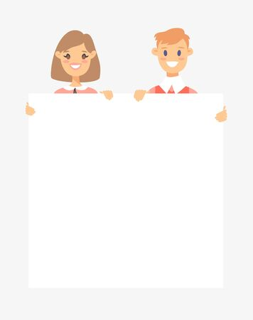 Caucasian male and female characters with board. Cartoon style people icons. Isolated guys avatars. Flat illustration men and women faces. Hand drawn vector drawing girls and boys portraits