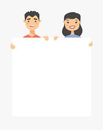 Asian male and female characters with board. Cartoon style people icons. Isolated guys avatars. Flat illustration men and women faces. Hand drawn vector drawing girls and boys portraits