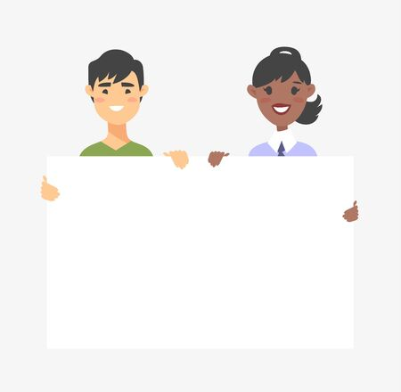 Male and female characters with board. Cartoon style people icons. Isolated guys avatars. Flat illustration men and women faces. Hand drawn vector drawing girls and boys portraits