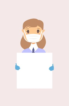 Caucasian female character with board. Cartoon masked people in gloves. Isolated avatar. Flat illustration protected  women face. Hand drawn vector drawing safe girl portrait