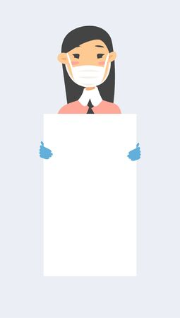 Asian female character with board. Cartoon style masked people in gloves. Isolated avatar. Flat illustration protected  women face. Hand drawn vector drawing safe girl  portrait