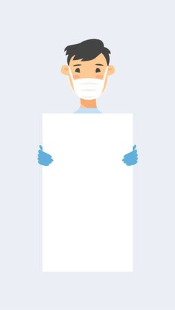 Asian male character with board. Cartoon style masked people in gloves. Isolated avatar. Flat illustration protected men face. Hand drawn vector drawing safe boy portrait Illusztráció