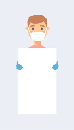 Caucasian male and female character with board. Cartoon masked people in gloves. Isolated avatar. Flat illustration protected men and women face. Hand drawn vector drawing safe girl and boy portrait