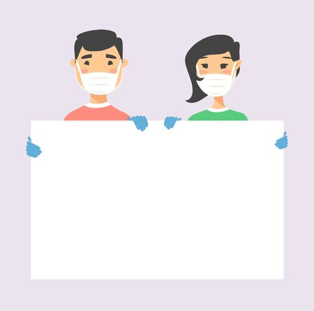 Asian male and female character with board. Cartoon style masked people in gloves. Isolated avatar. Flat illustration protected men and women face. Hand drawn vector drawing safe girl and boy portrait