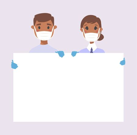 African American male and female character with board. Cartoon masked people in gloves. Isolated avatar. Flat illustration protected men and women face. Hand drawn vector drawing safe girl and boy