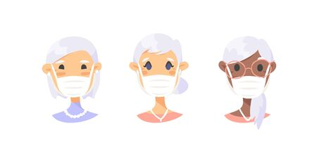 Set of elderly female characters. Cartoon masked people. Isolated retiree avatars. Flat illustration protected old women faces. Hand drawn vector drawing safe granny portraits