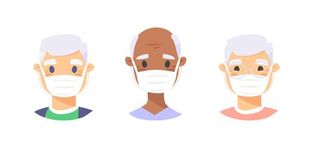 Set of elderly male characters. Cartoon masked people. Isolated retiree avatars. Flat illustration protected old men faces. Hand drawn vector drawing safe granny portraits Illusztráció