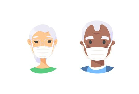 Set of elderly male and female characters. Cartoon masked people. Isolated retiree avatars. Flat illustration protected old men and women faces. Hand drawn vector drawing safe granny portraits