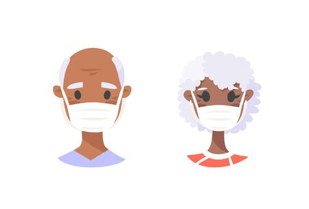 Set of African American elderly male and female characters. Cartoon masked people. Isolated retiree avatars. Flat illustration protected old men and women faces. Hand drawn vector drawing safe granny portraits Illusztráció