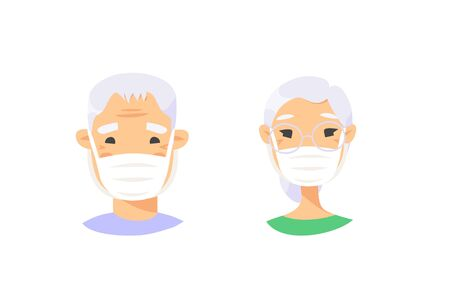 Set of Asian elderly male and female characters. Cartoon masked people. Isolated retiree avatars. Flat illustration protected old men and women faces. Hand drawn vector drawing safe granny portraits