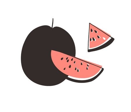 Doodle watermelon. Hand drawn stylish fruit and vegetable. Vector artistic drawing fresh organic food. Summer illustration vegan ingrediens for smoothies