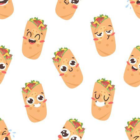 Cartoon drawing set of fast food emoji. Hand drawn emotional meal.Actual Vector illustration mexican cuisine. Creative ink art work  burrito