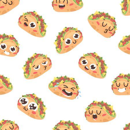 Cartoon drawing set of fast food emoji. Hand drawn emotional meal.Actual Vector illustration american cuisine. Creative ink art work mexican tacos Stock fotó - 147796669