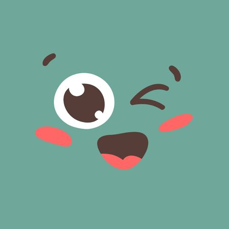 Cartoon drawing emoji. Hand drawn emotional face.Actual Vector illustration emoticon. Creative ink art work facial expression Çizim