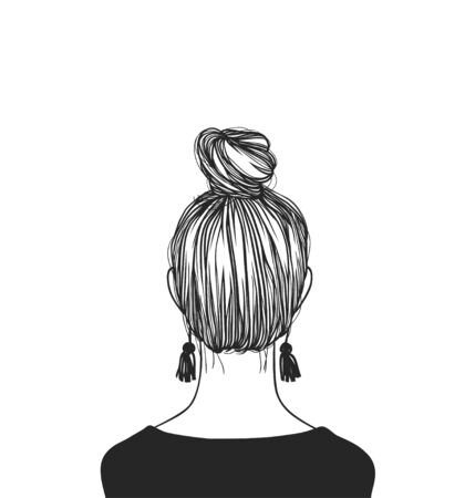 Hand Drawn portrait Stylish Woman. Beautiful Fashion Illustration back view. Doodle Vector pattern attractive Teenager Girl with bun hairstyle