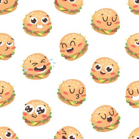 Cartoon drawing set of fast food emoji. Hand drawn emotional meal.Actual Vector illustration american cuisine. Creative ink art work burger Stock fotó - 147796674
