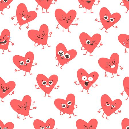 Cartoon drawing set of hearts emoji. Hand drawn emotional characters.Actual Valentine's Day Vector illustration. Romantic creative ink art work Illustration