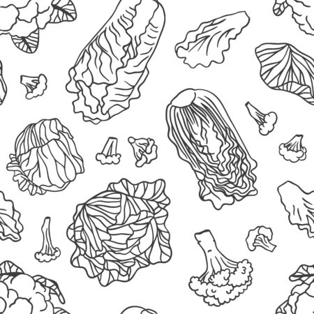Doodle cabbage seamless pattern. Hand drawn stylish fruit and vegetable. Vector artistic drawing fresh organic food. Summer illustration vegan ingrediens for smoothies  イラスト・ベクター素材