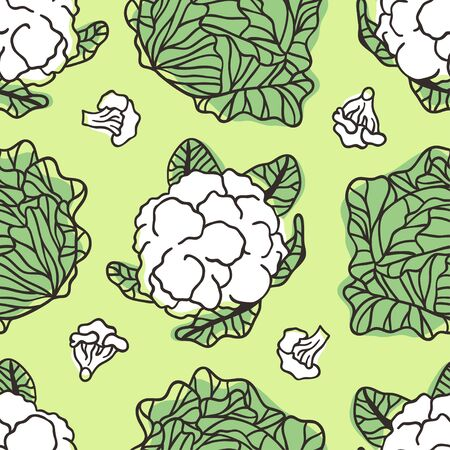 Doodle cabbage seamless pattern. Hand drawn stylish fruit and vegetable. Vector artistic drawing fresh organic food. Summer illustration vegan ingrediens for smoothies 向量圖像