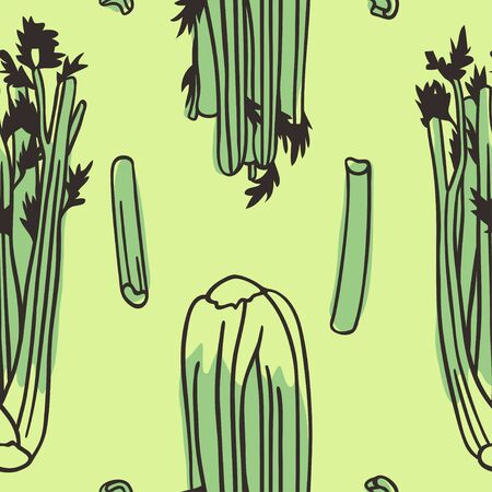 Doodle seamless pattern celery. Hand drawn stylish fruit and vegetable. Vector artistic drawing fresh organic food. Summer illustration vegan ingrediens for smoothies Çizim